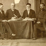 In this undated photo from the 1800s, Bible translators are pictured meeting in Levant Bible House.